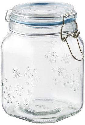 Container Store 38 oz. Snowflake Hermetic Jar Blue Gasket
