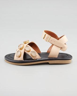 Marni Crisscross Bejeweled Flat Sandal