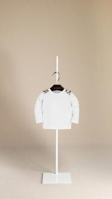 Burberry Check Detail Cotton T-Shirt