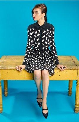 Nordstrom Miss Wu 'Delicate Leaf' Print Crêpe de Chine Blouse Exclusive)