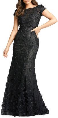 Mac Duggal Cap-Sleeve Floral Applique Lace Trumpet Gown
