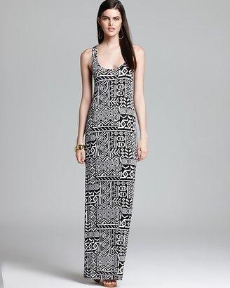 Aqua Maxi Dress - Tribal Print Racerback