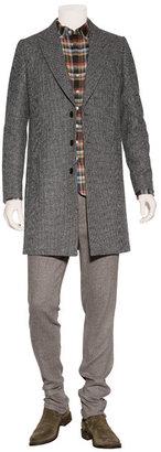 Paul Smith Grey Micro Check Wool Overcoat