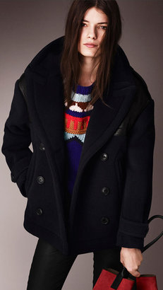 Burberry Oversize Pea Coat with Leather Detail