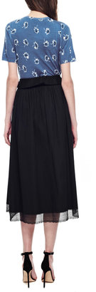 Meadham Kirchhoff Lace-Trimmed Cotton A-Line Midi Skirt