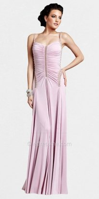 Mignon Ruched Beaded Open Back Yoke Evening Dresses