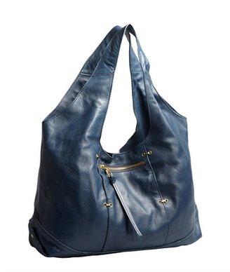 Kooba denim blue leather 'Owen' zip pocket hobo