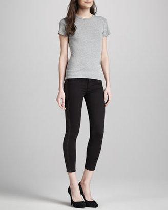 Hudson Leelou Leather-Side Skinny Pants