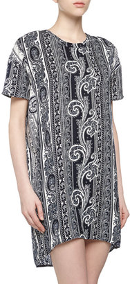 Pencey Short-Sleeve Baroque Charmeuse Shift Dress, Navy