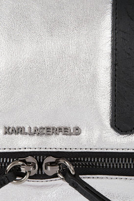 Karl Lagerfeld Bowletto Small expandable metallic leather tote