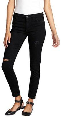 Black Orchid black destructed stretch denim 'Black Jewel' ankle zip jeans