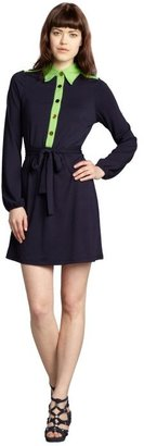 Julie Brown JB by navy and lime jersey knit belted 'Elliot Colorblock' dress