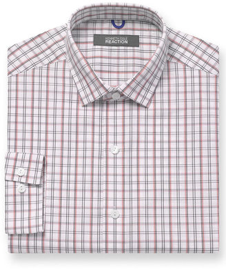 Kenneth Cole Rection Dress Shirt, Slim-Fit Red and Black Plaid Long-Sleeved Shirt