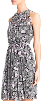 Diane von Furstenberg Ria Printed Chiffon Dress In Cheetah Island Ombre Lavender