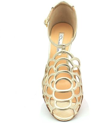 "Oscar de la Renta Gladita"" Gold (Platino) Leather Gardenia Lace Sandal"
