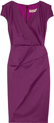Lela Rose Wrap-effect cotton-blend sateen dress