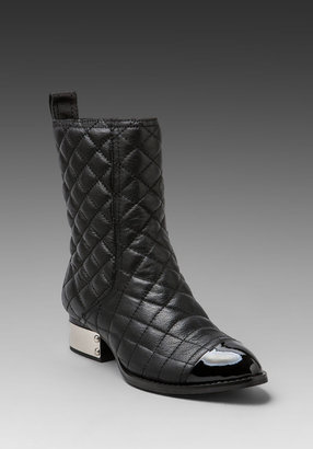 Jeffrey Campbell Zhora Quilted Boot in Black/Black Patent/Silver
