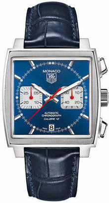 Tag Heuer Mens Monaco Alligator Strap Blue Dial Watch CAW2111FC618