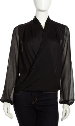 Neiman Marcus Wrapped Shawl-Collar Pullover Blouse, Black