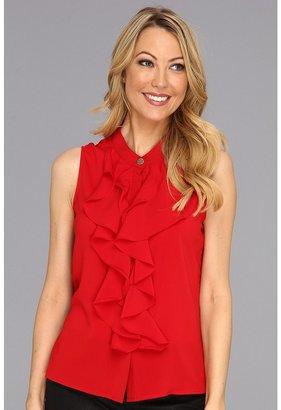 Calvin Klein Ruffle Front Top (Red) - Apparel