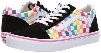 Vans Kids Old Skool (Little Kid/Big Kid) ((Checkerboard) Rainbow/True White) Girls Shoes