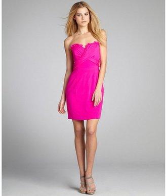 Jay Godfrey magenta stretch silk 'Puzo Slim' strapless cocktail dress