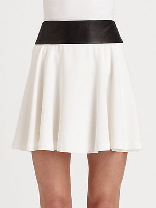 Alice + Olivia Sonja Leather-Accented Skirt