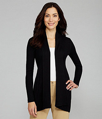 Leo & Nicole Ribbed Open-Front Cardigan