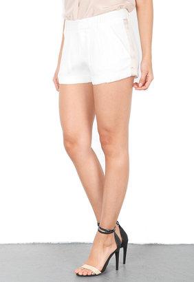 Haute Hippie Trouser Short with Tux Stripe in Swan/Buff