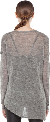 Helmut Lang HELMUT Marled Alpaca Pullover in Light Grey