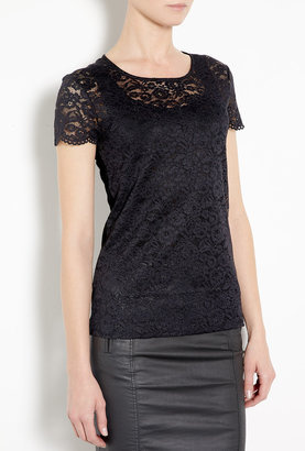 DKNY Black Lace Scoop Neck T-shirt With Jersey Back