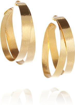 Herve Van Der Straeten 24-karat gold-plated hoop earrings