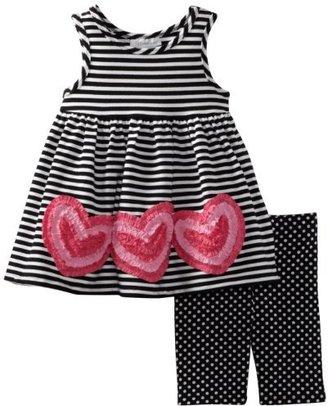 Bonnie Jean Girls 2-6X Stripe and Heart Applique Legging Set