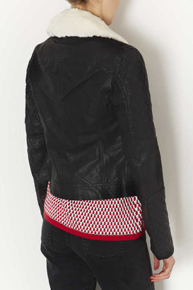 Topshop Tall Fur Collar Biker Jacket