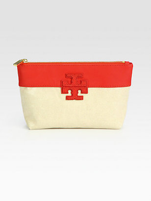 Tory Burch Stacked Logo Mixed-Media Colorblock Cosmetic Case