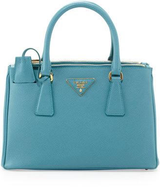Prada Saffiano Mini Double-Zip Crossbody Bag, Turquoise (Turchese)