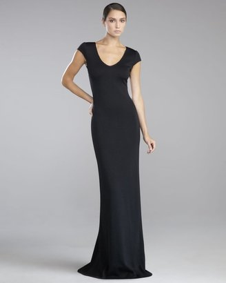 St. John Shimmer Milano Knit Lace-Back Gown