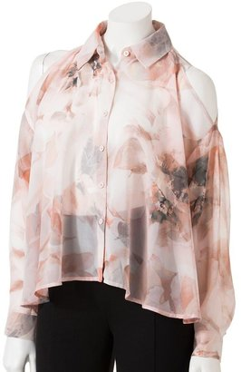 JLO by Jennifer Lopez floral open-shoulder chiffon shirt - women's