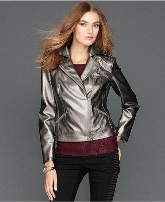 INC International Concepts Jacket, Metallic Faux-Leather Moto