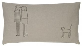 K Studio Pin It Women Plus Cat Pillow - Thyme With Black Stitch
