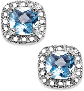 Townsend Victoria Sterling Silver Earrings, Blue Topaz (1-1/5 ct. t.w.) and Diamond Accent Cushion-Cut Stud Earrings