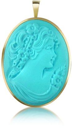 Del Gatto Woman Turquoise Paste Cameo Pendant/Pin