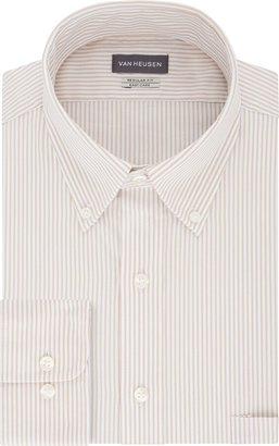 Van Heusen Men's Pinpoint Regular Fit Stripe Button Down Collar Dress Shirt