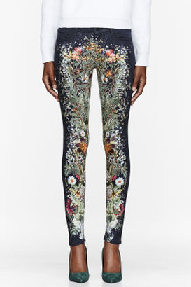Mother Grey & green The Looker Skinny Wild Flower Print jeans