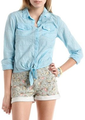Charlotte Russe Eyelet Lace Tie-Front Top