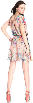 Bar III Dress, Short-Sleeve Scoop-Neck Floral-Print A-Line