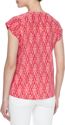 Joie Rubina Ikat-Print Silk Top