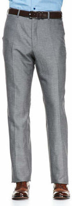 Isaia Solid Wool/Linen Trousers, Gray