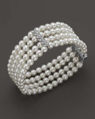 Bloomingdale's Cultured Freshwater Pearl Four Row Bracelet with Diamonds in 14K White Gold, 4.5mm