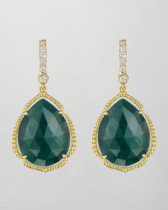 Penny Preville 18k Pear-Cut Emerald & Diamond Earrings